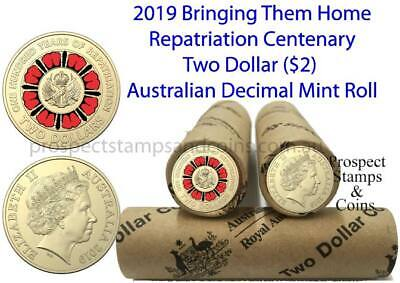 2019 Lest We Forget - Repatriation Two dollar ($2) Coloured Coin roll - 25 coins