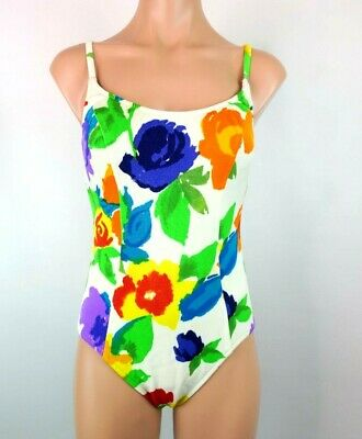 Illusions by cole of california swimsuit Sz 12 Floral Vintage Cup Support RARE