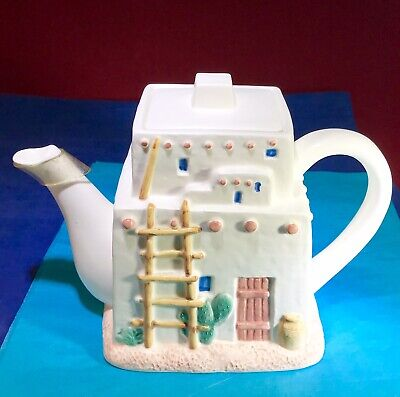 Vintage ~ White ~Tea Pot ~ Unique House Shape ~ Figi Graphics ~ Hand Crafted