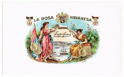 Old Cigar Box Label Vintage C1910 La Rosa Havanesa Nautical Ships Bay Flags