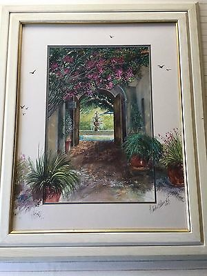 """H. Andre Blanche Original Watercolor Painting, Singed, Framed, 14"""" x 21 1/2"""""""