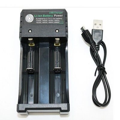 1x 2 Slots Smart USB Charger For Li-Ion 18650 16340 Rechargeable Battery Adapter