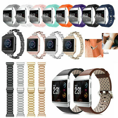 For Fitbit Ionic Replacement Sport Stainless Steel / Silicone Wrist Band Strap