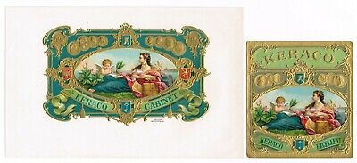 2 Cigar Box Label Pair Vintage 1910 Embossed Keraco Cabinet Medical Green