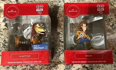 (2) MIB Hallmark 2019 WOODY & Slinky Dog Toy Story 4 Ornaments Brand New