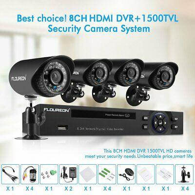FLOUREON 5IN1 Security Camera System 1080N DVR CCTV 8CH 4PACK 1.0MP 1500TVL Cam