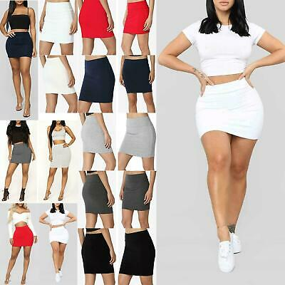 Ladies Womens High Waisted Stretch Pencil Elasticated Bandage Bodycon Mini Skirt