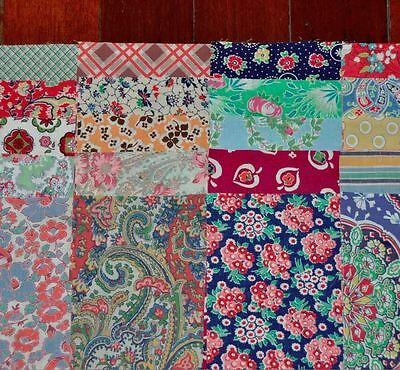 "(20) x ORIGINAL VINTAGE 1920-40's FABRIC CHARM PIECES – BRIGHT COLOURS – 5"" x 7"""
