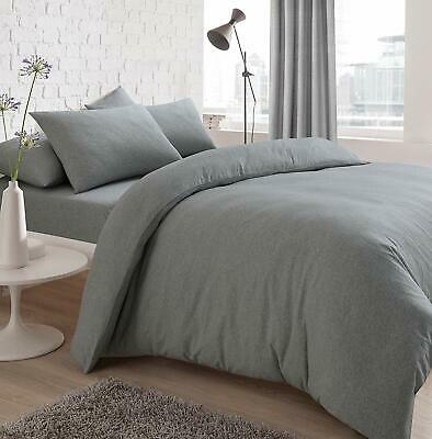 Jersey Melange Duvet Set Easy Care Non Iron Plain Yarn Dyed Quilt Cover With Pil