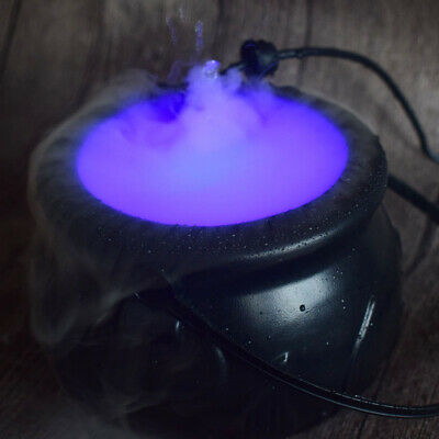 Halloween Cauldron Mister Mist Maker Smoke Fog Machine Color Changing Party Prop