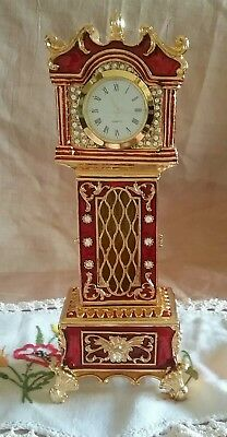 NEW HEAVY GOLD PLATED PEWTER & ENAMEL GRANDFATHER CLOCK TRINKET BOX w/ CRYSTALS