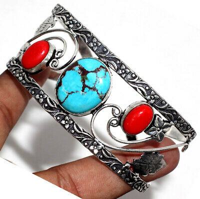 E30945 Turquoise Coral 925 Sterling Silver Plated Bangle Jewelry