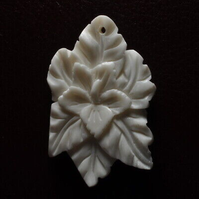 Hand Carved Flower Natural Buffalo Bone Pendant Bead 46X30X5Mm