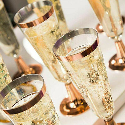 6 Count Wedding Plastic Wine Clear Champagne Flutes Disposable Glasses Cup Party