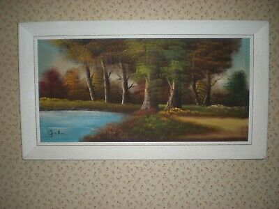 Vintage Large Framed Oil On Canvas Painting Of A Wooded Landscape Signed