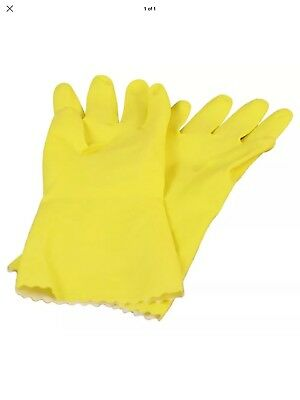 Plastico Yellow Household Rubber Gloves Size L 81/2 Medium Weight + Spare