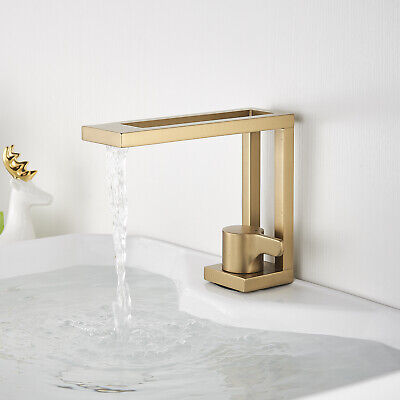 Bathroom Sink Faucet Basin Vessel Single Handle Mixer Tap Gold Brushed