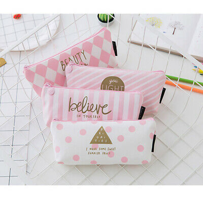 Pink Pencil Case Pen Box School Stationery Cosmetic Makeup Pouch Zip Bag Perfect