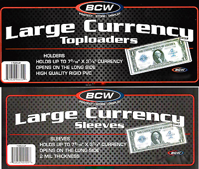 BCW 10 Top Load Currency Rigid Holders for Large Bills Including 10 Large Bill