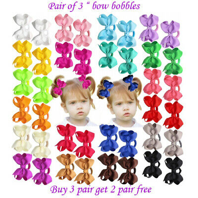 """3"""" Bow Hair inch cute Clips Girls Baby Kids Elastic Bobbles School Quality Bows"""
