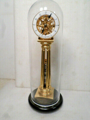"""Large 18"""" Coil Spring Fusee & Pendulum Shelf Clock--24K Gold Plated Clock & Dome"""