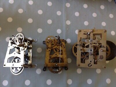 Antique HAC Clock Movements Chiming To Restore Spare Parts Plates 6x7 And 7x8cm