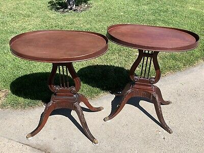 Vintage Pair Of Mersman 6651 Mahogany End Tables Lyre Base Claw Feet Set Of 2 A+