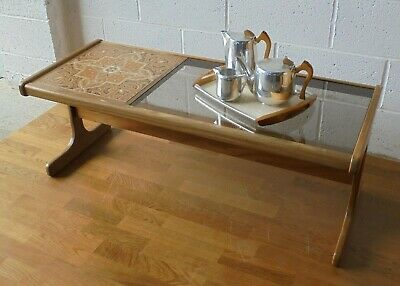 Vintage Retro Mid Century G Plan Coffee Table With Glass And Tile