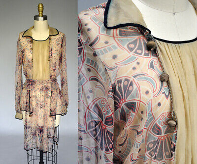 Antique VTG 20s 1920s Art Deco Silk Sheer Tunic Dress Blouse Wooden Toggles XS/S