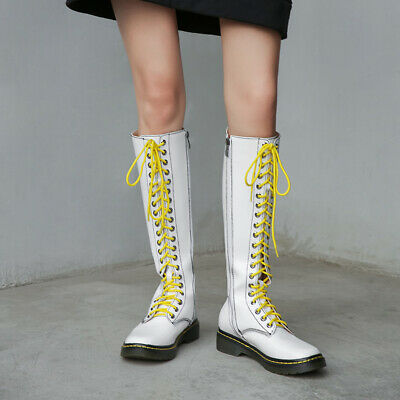 Occidnet Winter Casual Womens Girls Round Toe Lace Up Knee High Boots Outdoor