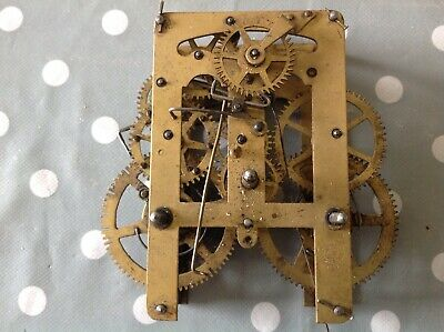 Antique Clock Movement New Haven Chiming 8x10cm Plates Untested