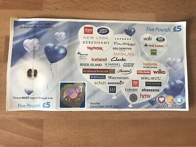 £5 Love To Shop Love 2 Shop Voucher Five Pounds Gift Vouchers Present 🎁 Genuine