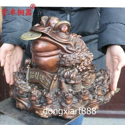 Chinese tripodia Three Leg Fengshui Animal Wealth Money Toad Pure Bronze Statue