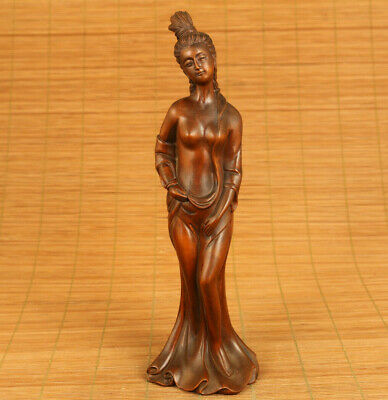 Asian old boxwood hand carved belle statue netsuke good stand home decoration