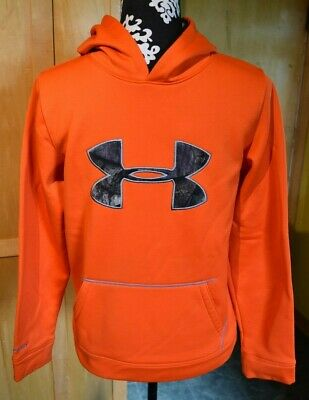 Boys Under Armour Hoodie Size Large Youth Orange/Camo Cold Gear Sweatshirt