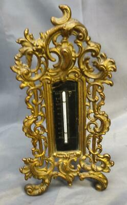 Old Antique Cast Iron Victorian Frame Metal Thermometer Temperature Instrument