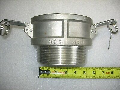 """4"""" Male NPT X 4"""" Female Camlock Cam & Groove Adapter 316 Stainless Steel 400-B"""