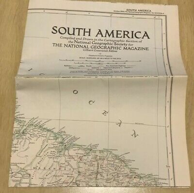 VINTAGE LARGE SOUTH AMERICA WALL MAP National Geographic October 1950