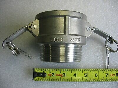 """3"""" Male NPT X 3"""" Female Camlock Cam & Groove Adapter 316 Stainless Steel 300-B"""