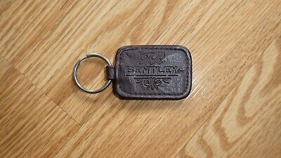 TR Bentley Brown Leather Key Ring Holder Fob Keychain  Rectanglar 2 1/4 x 1.5""