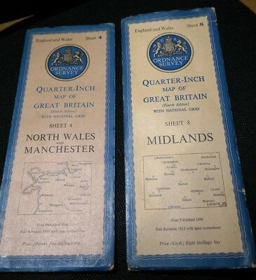 2 Vintage Ordnance Cloth Survey Maps 4 & 8 North Wales/Manchester & Midlands