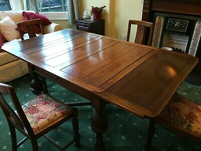 Antique Oak Extendable Dining Table And Four Chairs