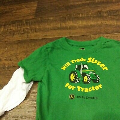 John Deere Will Trade Sister For Tractor Funny Long Sleeve Shirt Boys 3T
