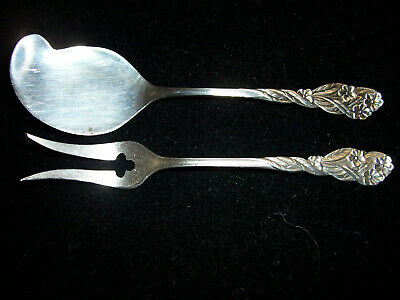 """Whiting Sterling Silver Pickle Fork & Jelly Spreader-c.pre 1940 """"Forget-Me-Nots"""""""