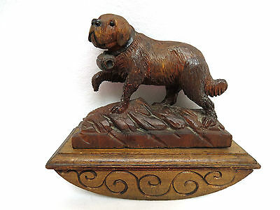 Antique 19C Black Forest Carved Wood St Bernard Dog Desk Top Rocker Ink Blotter