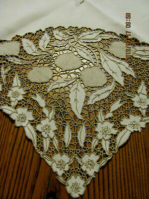 Vintage Madeira Taupe Embroidered Cutwork Ivory Linen Tablecloth 49x48 A1