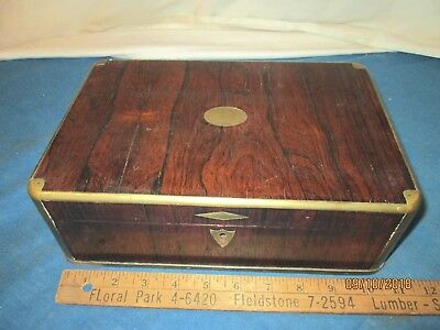 ANTIQUE ROSEWOOD BOX with BRASS TRIM