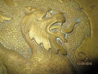 Vintage Brass Handcrafted Tray - Lion Design - Possibly English