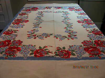 Heavy Vintage Cotton Twill Tablecloth Blue Red Roses Tulips Wisteria 60x72 A3