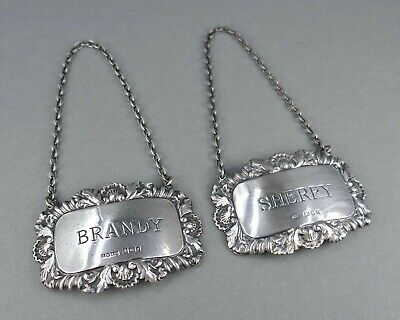Fine Vtg Pair British Sterling Silver Crystal Liquor Decanter Name Tag Badge